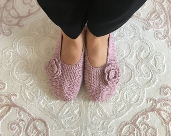 Cute Hand knitted pink socks, ballerina shoes, babette shoes, flat shoes, crochet slippers, moccasin, women slippers, homeshoes, patik