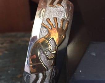 Vintage Sterling Cuff, Old Kokopelli Bracelet, Handmade Silver Bracelet With Kokopelli, Handmade Native American Cuff, Indian Kokopelli Cuff