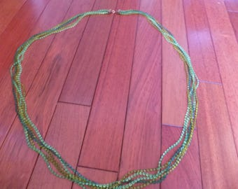 Great 60's green plastic bead multi strand necklace