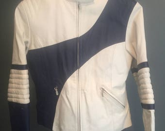 Vintage, 1980, Demu, navy/white Leather, Motorcycle Jacket, Woman's Small