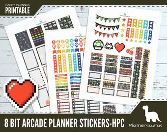 Arcade planner sticker printable | 8 bit instant download | Happy Planner Classic printables | pixel art weekly planner-pacman mario invader