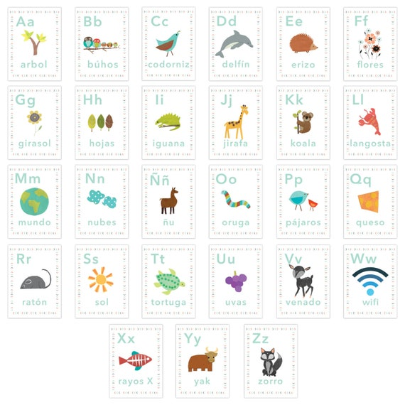 Chambre En Espagnol: Alphabet Espagnol Mur Cartes De Nos Enfants Monde 5 X 7