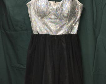 Silver Black Dress Short