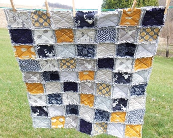 Navy, Gold, and Gray Rustic Rag Quilt