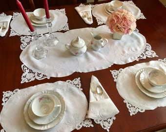 25pc Cutwork, Embroidery Lace Table setting, Fine Linen Placemats, Napkins, Runner