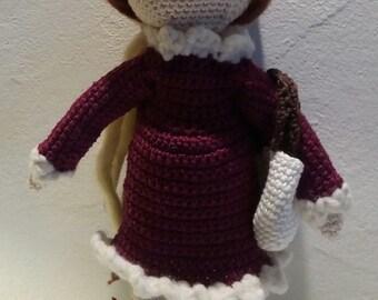 "Doll decorative amigurumi in cotton, ""Celestine"", entirely handmade crochet"