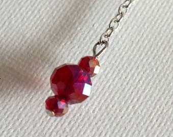 Silver and Red Y Necklace | Red Glass Bead Y Necklace | Silver & Red Lariat Necklace | Red Glass Bead Lariat Necklace | Y / Lariat Necklace