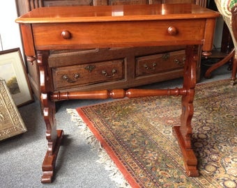 Antique Victorian Mahogany Gothic Library Table