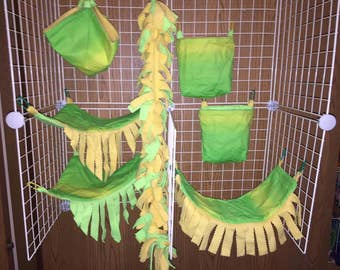 Green and Yellow Sugar Glider Cage Set