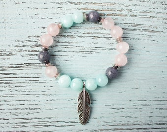 Sister Bracelet Fertility Bracelet Moms Bracelet Feather Bracelet Rose Quartz Sweet Arm Candy Cousin Bracelet Christmas Gift Girlfriend Gift