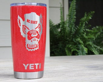 Powder Coated YETI 20 oz. -NC State - Burnt Red Texture - Glitter