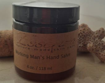 Working Man's Hand Salve. Organic Hand Salve. Blue Tansy Oil. 4 OZ. Natural Heavy Moisturizing Easily Absorbed Hand Salve. Avocado Butter