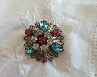 Pink, Turquoise, Tarnished Intricate Brooch Charm