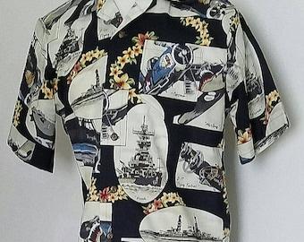 Black WW2 Battleship and Warplanes Aloha Style Shirt