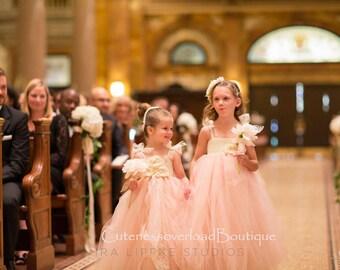 40% OFF ALL ORDERS-Blush Flower Girl Dress, Blush tutu dress, Flower Girl Tutu Dress, Wedding tutu dress, Blush and pearls flower girl tutu.