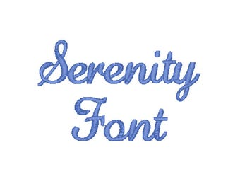 """2"""" Serenity Script Embroidery Font – Instant Download (PES, DST, and MORE)"""