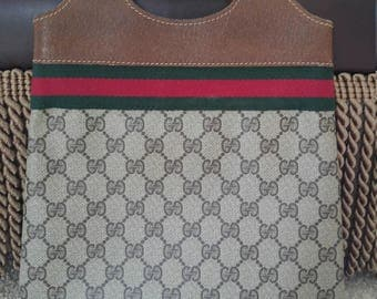 Small Authentic Vintage Gucci Tote Handbag with Sherry Stripe