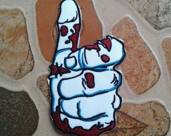 Hand ghost thump up punk rock patch.