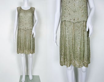 1920s Soft Green Beaded and Sequin Dress