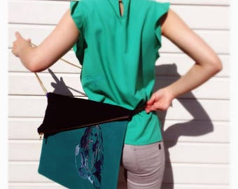 Janis Joplin Blue embroidered satchel