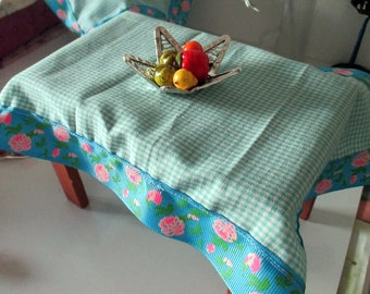 Table, tablecloth and fruit tray for dolls house or barbie