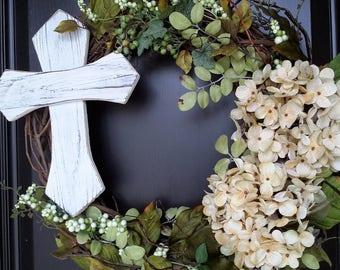 Spring Wreaths,Spiritual Gifts,Religion Decor, Summer Wreaths, Spiritual Decor, Front Door Wreath, Silk Floral Wreath