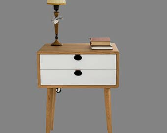 Bedside table Walnut/oak solid 2CB Mind Century