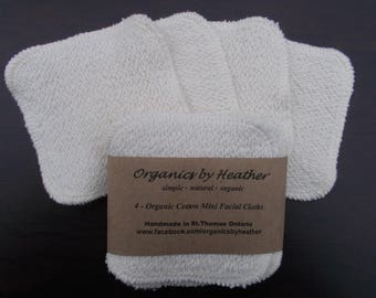 Organic Cotton Mini Facial Cloths - 4 pack
