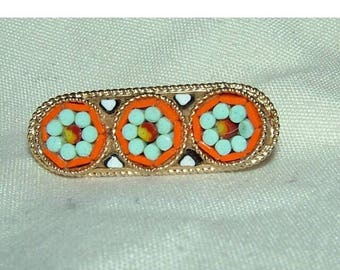 1960s Italy Retro Micro Mosaic Brooch Summer Colours
