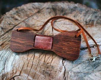 Wooden Bow tie necklace