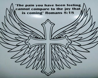 Motivational Cross with wings. Romans 8:18