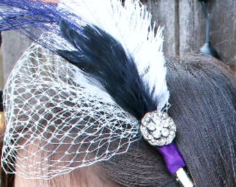 Purple and Black Wedding Bridal Hair Clip with Birdcage Lace Feathers and Rhinestones 1920s inspired