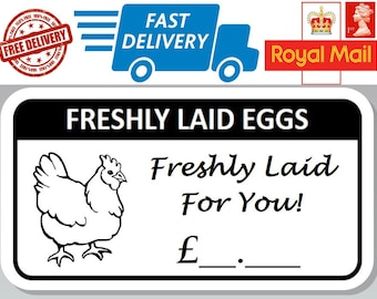 100 x Freshly Laid Egg Box Stickers With Price Hen Egg Labels