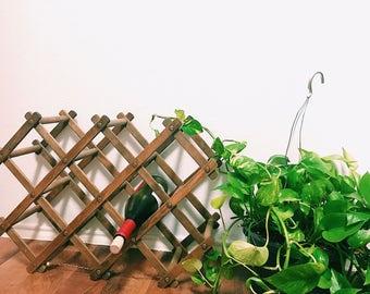 Expanding Accordion Style Wood Wine Rack, Wine Storage