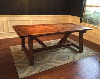 Farmhouse Dining Table W/ Truss Beam Legs | Kitchen Table | Rustic Farmhouse  Table |