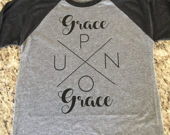 Grace Upon Grace tri blend raglan tee shirt