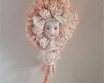 Vintage Bisque Doll Face/Lace Hanging Decoration, Cone Shaped Decoration, Handmade Decoration
