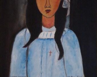 Oil on canvas 55 x 38 cm, copy of a Modigliani