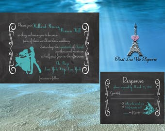 Mermaid Wedding Invitation Suite