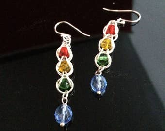 Earrings in Mult-Color Crystals and Sterling Silver Rings