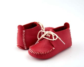 First Step Handmade Natural Leather Baby Shoe EUR 18 - 19 Red