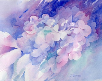 "Original watercolor painting ""Hydrangea Study #3"" floral purple pink flowers"