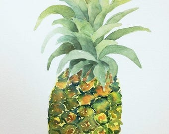 "Original watercolor painting ""Pineapple"" fruit kitchen art"