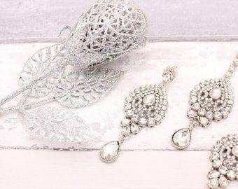Silver Stone Indian Bollywood Tikka Headpiece & Earring Set Wedding Bridal set