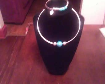2 piece set bangle bracelet and necklace silver and turquiose