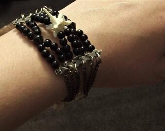 Snake vertebra beaded bracelet