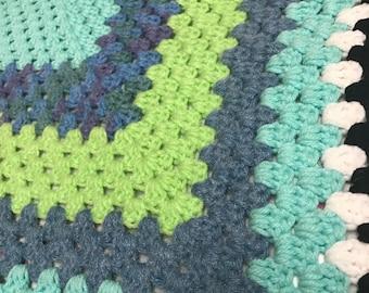 Blue Green Granny Square Blanket