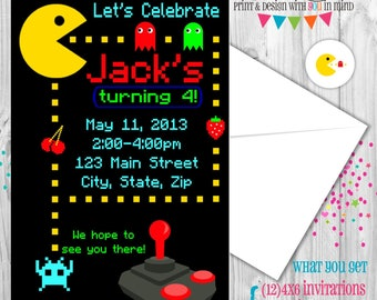 Pacman Party Invitations (set of 12)