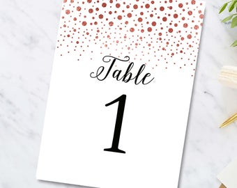 Rose Gold Table Numbers, Printable,Editable Table Numbers,Instant Download, Head table sign, Wedding Reception Decor, Digital File
