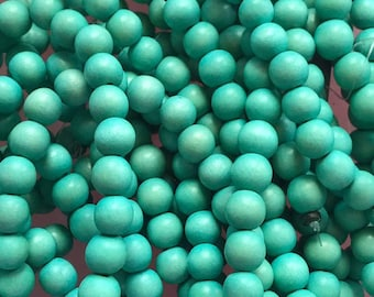 10mm Round Wood Bead Turquoise - 41 Beads Per Strand